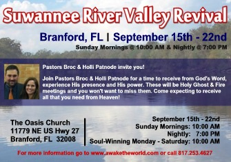SUWANNEE RIVER VALLEY REVIVAL<br><br>September 15th - 22nd